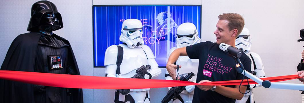 Watch Armin van Buuren get shocked by Darth Vader and three Stormtroopers during the opening of his new radio studio!